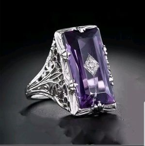 🎁5.2CT Amethyst stamped 925 sterling Silver ring